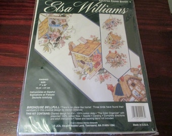 Elsa Williams Counted Cross Stitch Kit Birdhouse Bellpull JCA 02093 Complete and Ready to Stitch