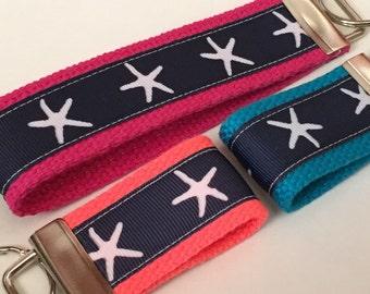 Starfish Ribbon Fob, Navy Blue Starfish Keyfob, Summer Wristlet, Starfish Bag Tag,  Nautical Keyfob, Nautcal Keychain, Beach Bag Tag