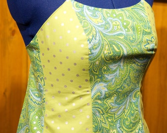 blue/lime backless summer festival top