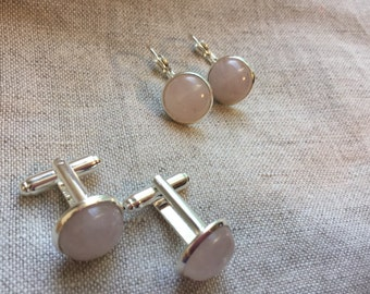 Cuff Links and Earrings in rose quartz and silver