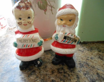 Vintage Santa and Mrs. Claus Large Salt and Pepper Set Marked JAPAN No plugs in bottom