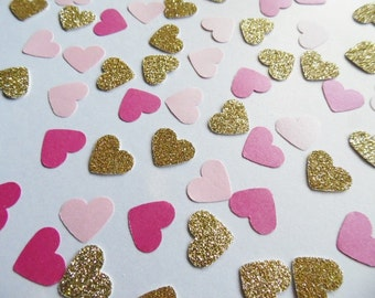 Gold Glitter Heart Confetti, Hot Pink Light Pink Shimmer Hearts, Table Scatter, Party Decoration, Bridal Shower Decor