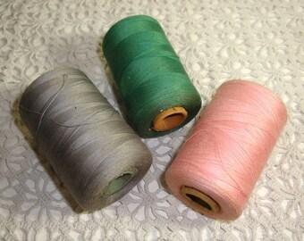 Vintage Spools of Thread, Bowl Fillers, Gray, Pink, Green, Cardboard Spools, Mid Century  (755-15)
