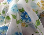 Vintage Sheer Floral Fabric Blue Yellow - 1976 - NOS - 3 Yards