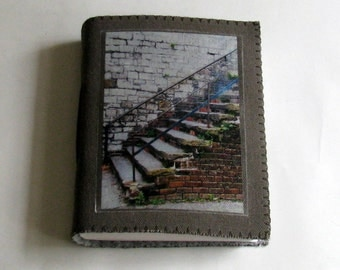 Savannah Stairs - canvas travel journal, gray waxed canvas cover