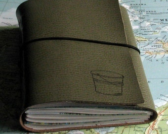bucket list journal with maps as a travel journal - sage green faux leather by tremundo
