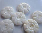 Vintage Buttons - Amazing mother of pearl, 6 medium size matching carved flower design, (aug 77)