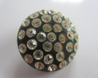 Vintage Buttons - 1 beautiful largecsize Rays design rhinestones set in plastic, dark blue  1945-50's (july 843)