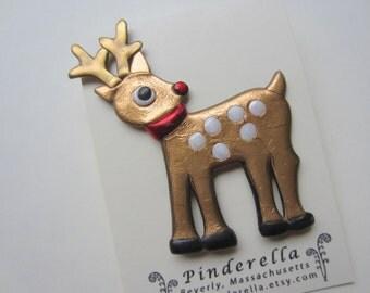Christmas Rudolph Reindeer Pin Brooch