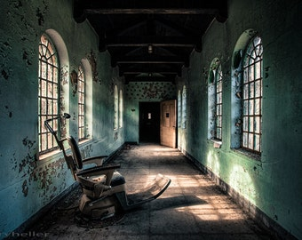Dentist chair in the corridor, abandoned asylum, urban exploration, industrial chic, spooky old hospital, mysterious photography print