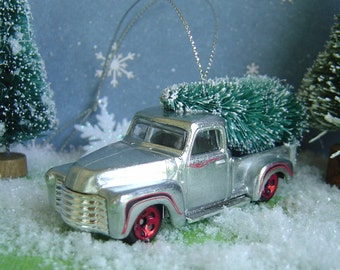 1952 Chevy Silver PickUp Truck with Christmas tree ornament