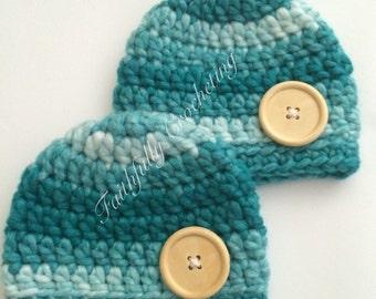 Newborn twin boy beanies.. Photography prop.. Ready to ship...