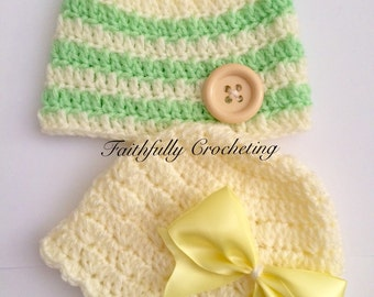 Newborn twin beanie.. Twin boy girl hats.. Photography prop.. Ready to ship