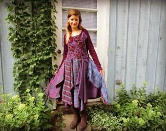 Embroidered Purple Plaid Bohemian Upcycled Dress// Medium// emmevielle