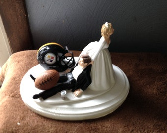 Pittsburgh Steelers Wedding Cake Topper Bridal Funny Football team Football Themed with Hair color changed for free