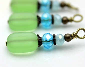 Vintge Style Green Blue and Aqua Blue Crystal with Brass Bead Dangle Charm Drop Set - Earring Dangle, Charm, Drop, Pendant