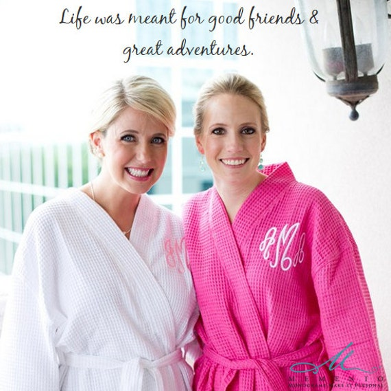Monogrammed Robe Bridesmaid Gift  Bridesmaids Robe Monogrammed waffle weave personalized, c