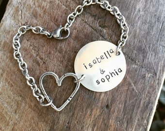 New Sterling Silver Open Close to My Heart Bracelet Open Heart Tag Charm with Hand Stamped Circle Tag