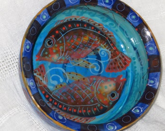 Brilliant Blue Bowl With Fish