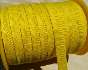 "Yellow Twill Tape Trim - Sewing Bunting Shipping Packaging - Bright Yellow Polyester Twill - 3/8"" Wide - 10 Yards"