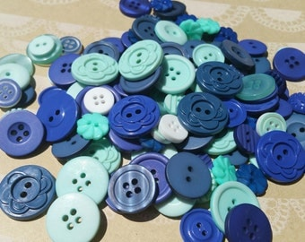 Blue Buttons - Assorted Sewing Bulk Button - Studio Calico - 100 Buttons - Beach Bum - LAST TWO PACKAGES