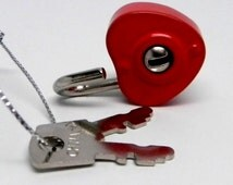 Small Crimson Enameled Heart Padlock With Two Keys Ideal for Locking your Handcrafted Jewelry, Purse, Luggage or Diary