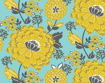 Delightful Floral Blue Turkish Delight from Blend Fabric