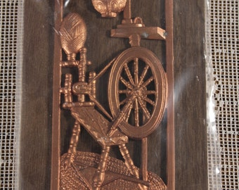 Vintage Early American Plaque Coppertone Finish Spinning Wheel in box on wood  Wall Hanging Cottage Chic Rustic Primitive Decor