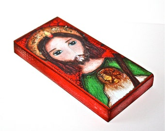 Saint Jude -   Giclee print mounted on Wood (5 x 10 inches) Folk Art  by FLOR LARIOS