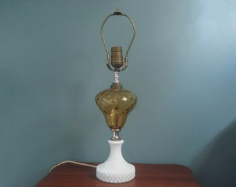 Hobnail and amber glass lamp