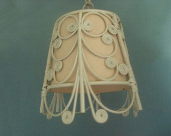 Vintage bent wood pendant lamp