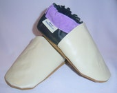 Soft soled Leather baby shoes cream and black size 8.5 cream-  black purple
