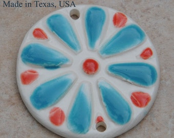 Handmade Pottery Bead with BOHO flower Design