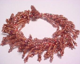Copper Picot Fringe Glass Seed Bead Bracelet Pattern PDF