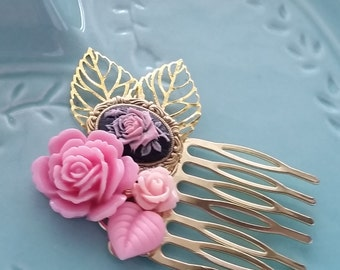 Bubblegum Pink Rose Small Cluster Hair Comb - Fascinator Kitschy Cool Offbeat Wedding Bride Rose Bird