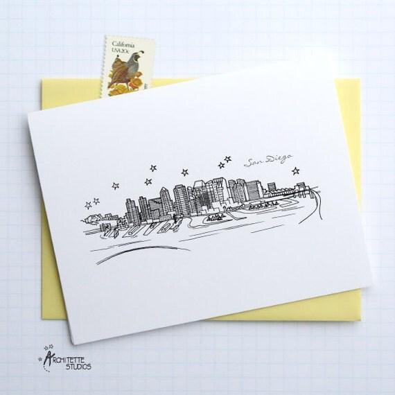 San Diego, California - United States - City Skyline Series - Folded Cards (6)
