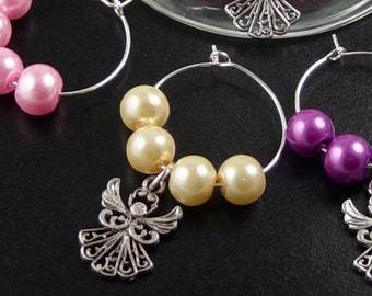 Wine Charms 6 Silver Angel Fairies Cupid Beads Stemware Glass Pearls Gifts Wedding Favors (1014win25s1)