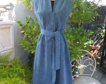 1980s Day Dress, Blue Ultrasuede Dress, The Carmel Dress Shop, Carmel by the Sea