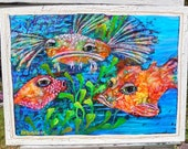 Salt Life Key West Funky Fish tropical ocean reef sea Original Painting KeROBinson