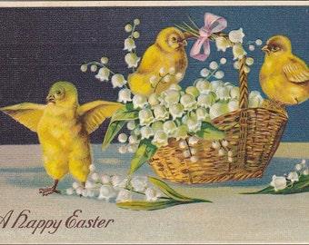 Vintage Easter chicks , basket, lilies of the valley vintage Easter postcard