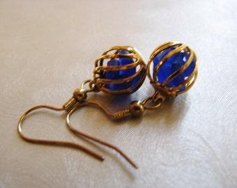 Sea Glass Earrings - Cobalt Blue Ball Earrings - Beach Glass Earrings - Beach Glass Jewelry