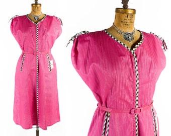 Vintage 50s Dress // 1950s Dress // Hot PINK Dress // NOS Dress // Zipper Front Dress  sz XL - 38 Waist