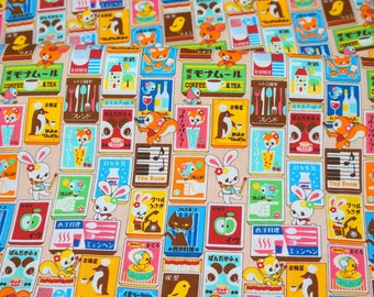 Animal and Sweets print fabric one  meter 50  cm by 106 cm or 19.6 by 42 inches nc14