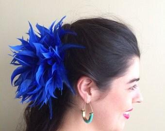 FLEUR de PLUME,  Vogue Goose feather fascinator,  Cobalt Blue / FDP - 17