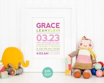 Modern Typography Birth Announcement Print