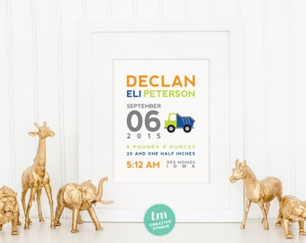 Custom Birth Announcement Print - Dumptruck Wall Art