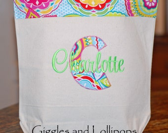 Girls personalized appiqued canvas tote bag flower girl ring bearer bridesmaid gift
