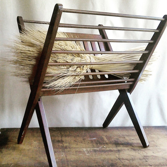 Mid Century Furniture   Magazine Rack   Wooden Display Stand   Danish Modern Home Decor   1960's Design   Retro Decor   Autumn Accent