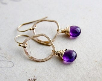 Amethyst Earrings, Dangle Earrings, Gold Earrings, February Birthstone, Hoop Earrings, Purple Gemstone, Gemstone Necklace, PoleStar