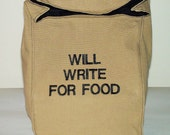 Fabric Paper Bag Reusable Snack Sack LUNCH Brown Lunch Bag Word quote by BonTons on Etsy